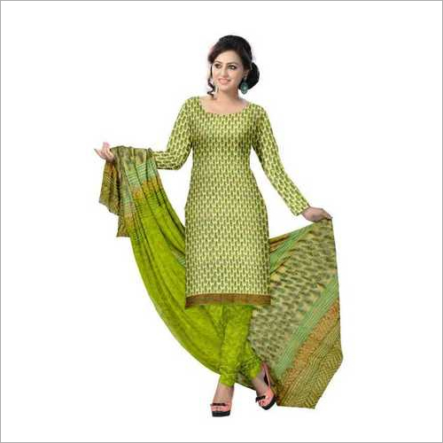 hand block print cotton suit with chiffon dupatta