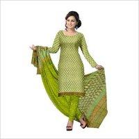 Hand Block Print Cotton Suit With Chiffon Dupatta