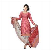 hand block prints cotton suit with chiffon dupatta