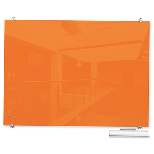 Orange Magnetic Glass Board