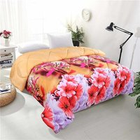 HOME STYLISH  Printed Floral Polycotton Reversible Double Comforter - Black and Red