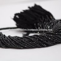 4mm Natural Black Spinel Gemstone Faceted Rondelle Beads