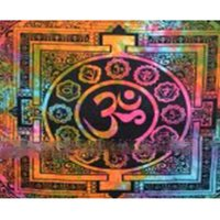 Om Multi -Color Tie Dye Indian 100 % Cotton Fabric Hippie Printed Decor Wall Hangings Bedspread Bed sheet Tapestry