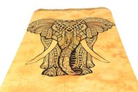 Mustard Color Elephant Graffiti Printed Wall Hangings Indian Tie Dye Hand Print Bed sheet Bedspread Home Decor Tapestry