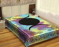 Mandala Moon Star Tapestries Wholesale Bed sheet Indian 100% Cotton Bedspread Design Hippie Tapestry