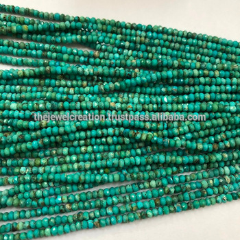 3mm Natural Real Arizona Turquoise Faceted Rondelle Beads