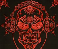 Red & Black Halloween Printed Tie Dye Black Base Indian Wall Hangings Decor Screen for Room Cotton Tapestry