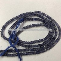 Natural Iolite Gemstone Faceted Roundel Beads 4mm