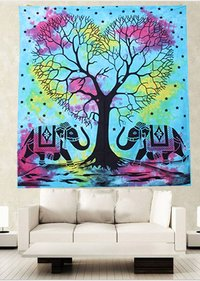 Blue Color Dual Elephant Tree Of LIfe Boho Hippie Home Decor Indian Wall Hangings Tapestry