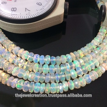 Natural Ethiopian Welo Opal Stone Faceted Rondelle Beads Strand
