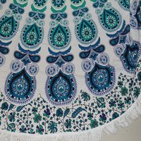Indian Cotton Mandala Ombre Beach Towel Round Yoga Mat Wall Hangings