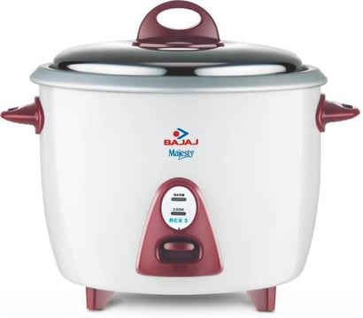 Bajaj Majesty New Rcx 3 Electric Rice Cooker  (1.5 L, White) Handle Material: Plastic