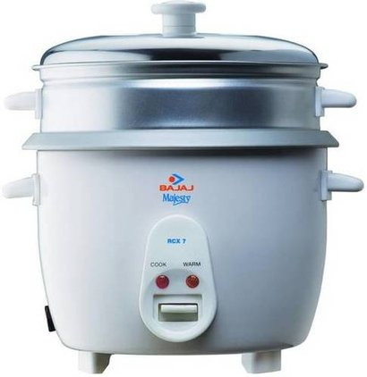 Functions: Cooking Bajaj Majesty New Rcx7 Electric Rice Cooker With Steaming Feature  (1.8 L, White)