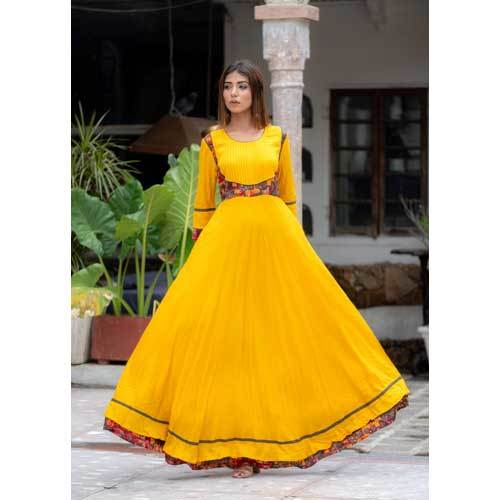 Ladies Yellow Frock Kurti