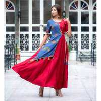 Ladies Lahriya Heavy Long Red Kurtis