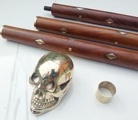 Solid Brass Unique Knob Skull Head Walking Stick cane Victorian Wooden Cane