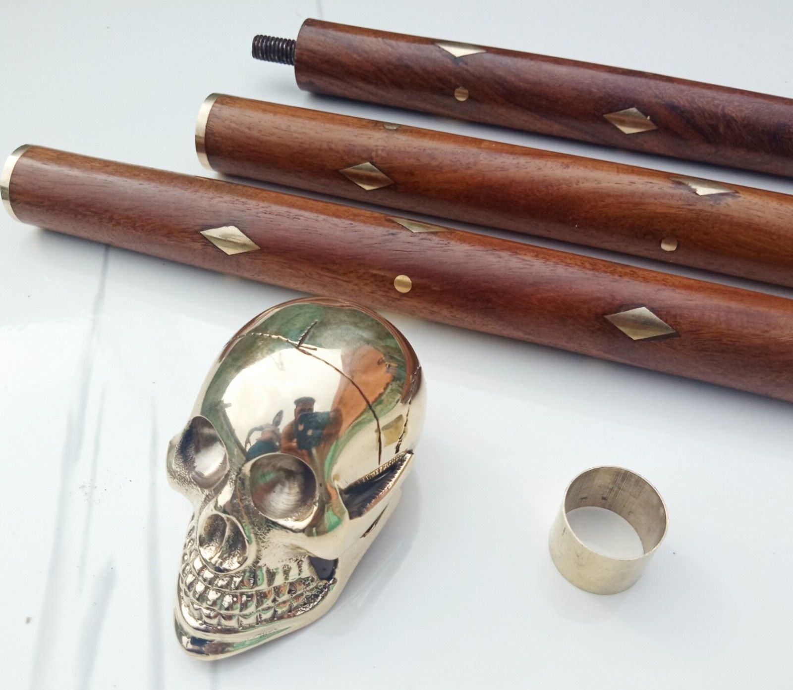 Solid Brass Unique Knob Skull Head Walking Stick cane Victorian Wooden Cane