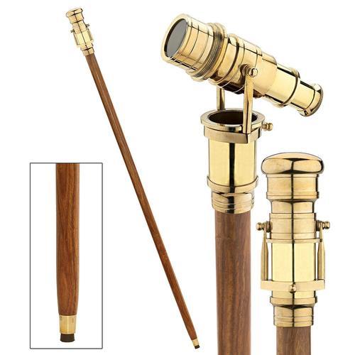 Walking Stick Cane with Brass Hidden Telescope Handle