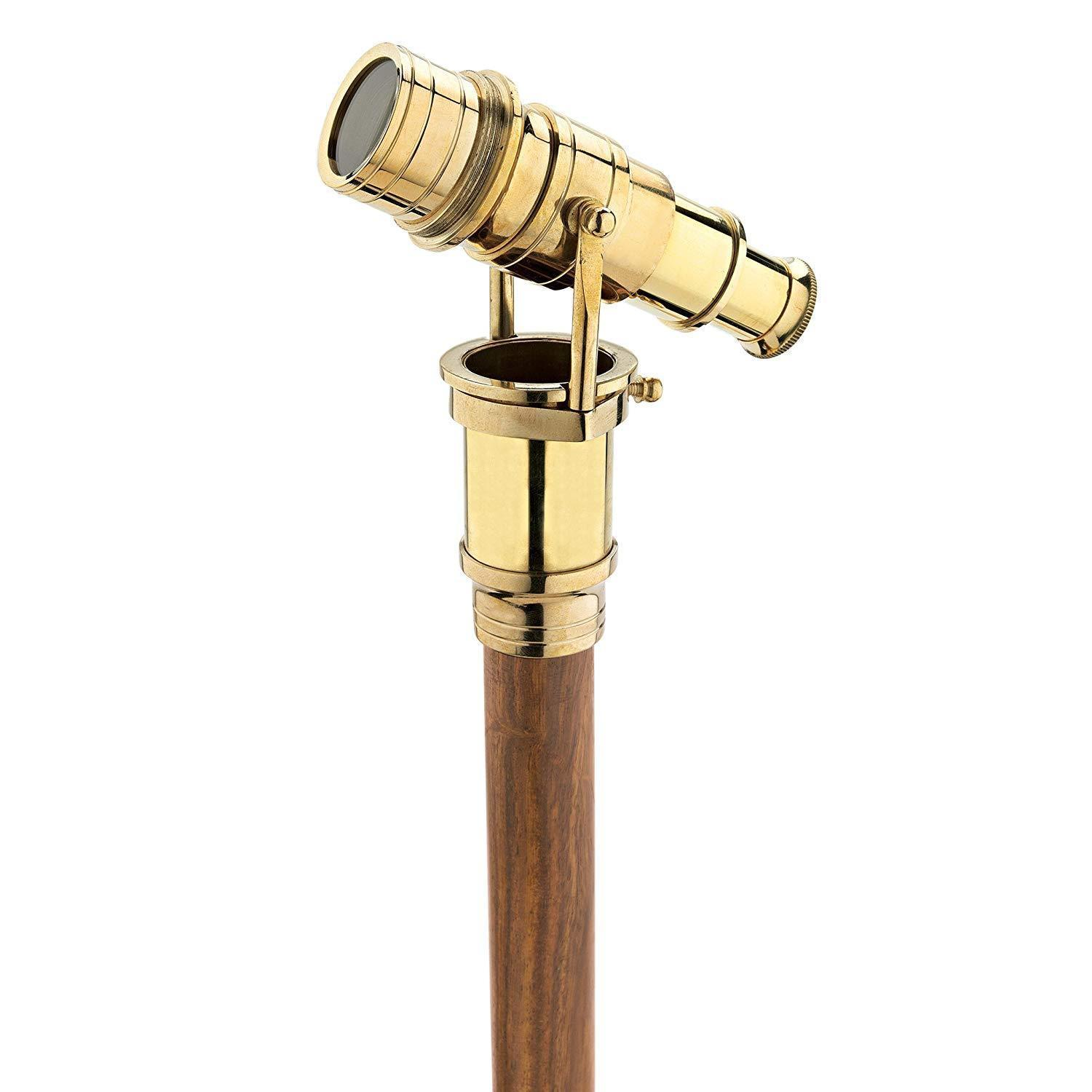 Walking Stick Cane with Brass Hidden Telescope Handle