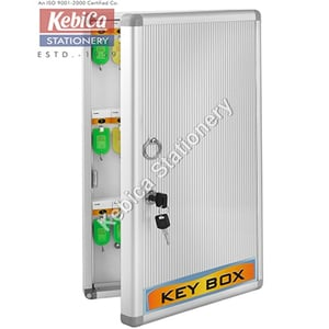 Kebica 48 Key Metal Cabinet Security Box with Lock, Silver, Wall Mount