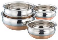 Lavi Best Homes Set Of 4 Copper Bottom Cookware Handi 1 L  (Stainless Steel, Copper, Non-stick)