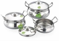 JVL Flame Pot Plain Stainless Steel Cooking Sauce Pot Handi Vessel with Lid - 3 Pcs Set - ES_JVL_FP-1X3P Handi 800 L, 1250 L, 1900 L  (Stainless Steel, Induction Bottom)