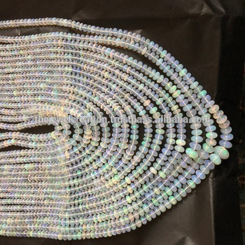 Natural Ethiopian Opal Stone Plain Smooth Beads Strand 6-10mm