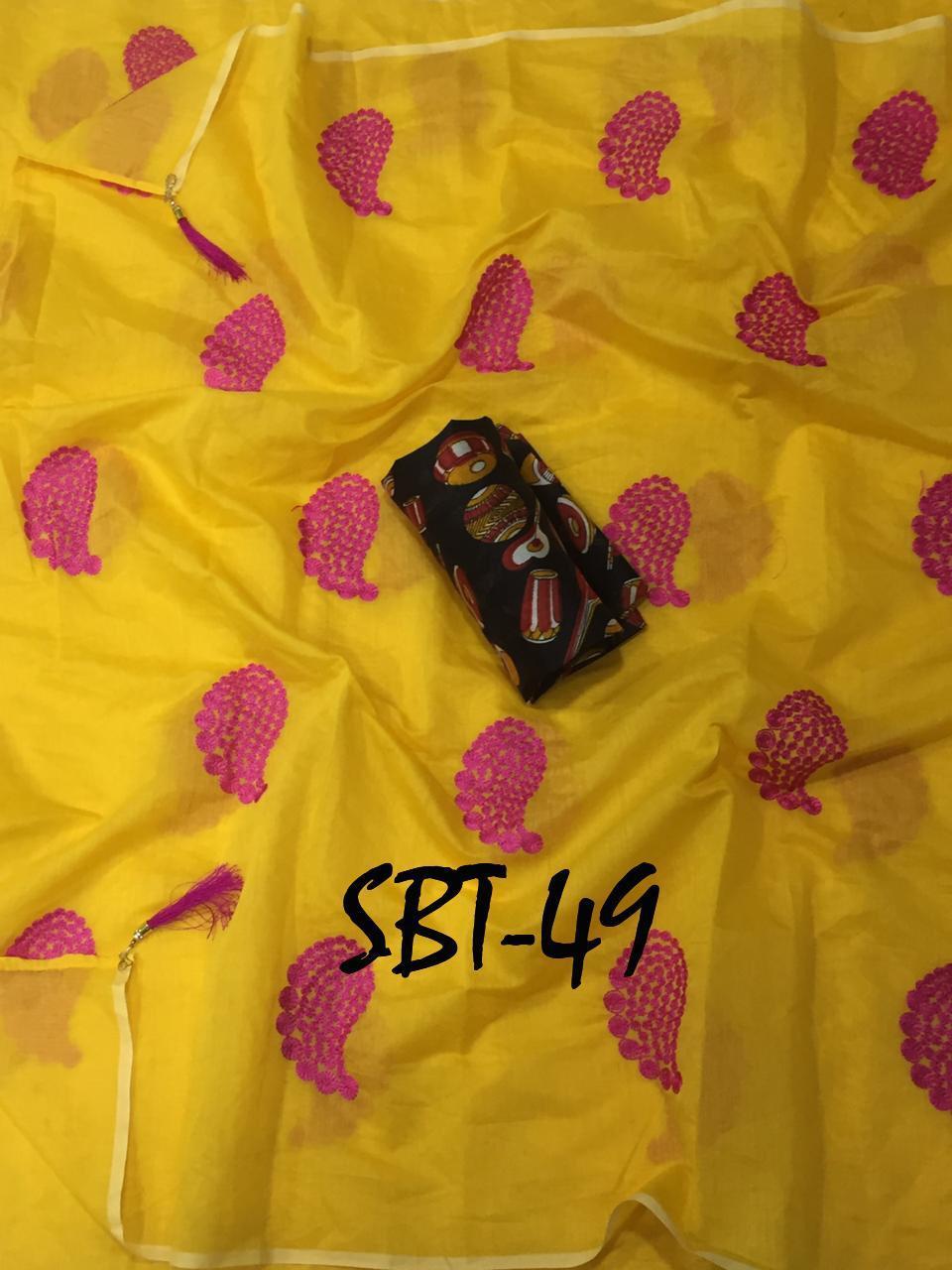 Flower Embroidered Cotton Saree