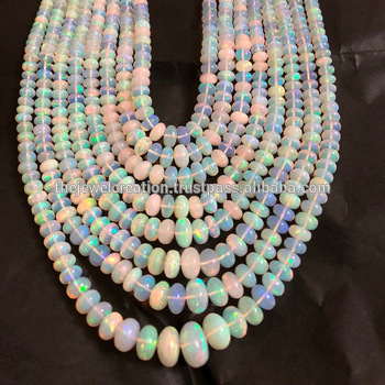 Natural Multi Fire Ethiopian Opal Stone Smooth Top Quality Beads