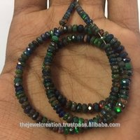 Natural Black Ethiopian Opal Faceted Rondelle Gemstone Beads Strand