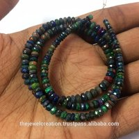Natural Black Ethiopian Opal Gemstone Rondelle Beads Strand