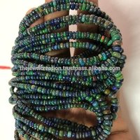 Black Ethiopian Opal Gemstone Plain Smooth Rondelle Beads Wholesale