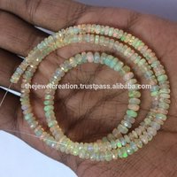 Natural Yellow Ethiopian Welo Opal Gemstone Stone Faceted Rondelle Beads