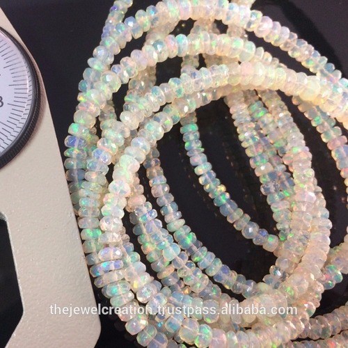 Natural White Ethiopian Fire Opal Faceted Wholesale Beads Strand