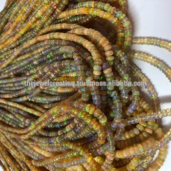 Natural Ethiopian Opal Gemstone Smooth Rondelle Beads Lot Wholesale