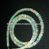 White Ethiopian Welo Opal Stone Faceted Rondelle Beads Strand