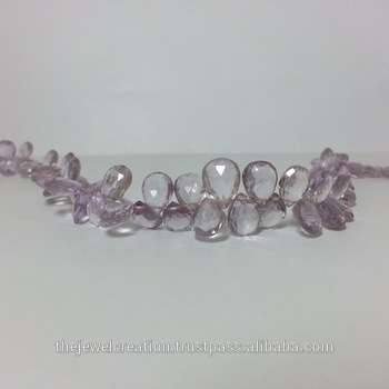 Natural Pink Amethyst Faceted Pear Briolette Beads
