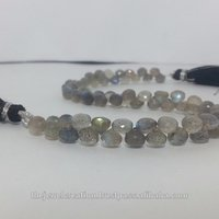 Natural Labradorite Stone Faceted Teardrops Briolette