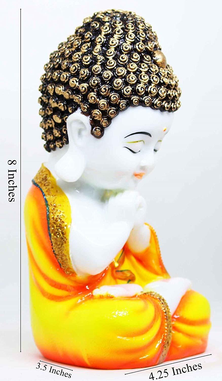 Handcrafted Little Buddha Monk Showpiece Figurine(8 * 4.25 * 3.5 inches)