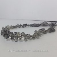 Natural Black Dot Rutile Quartz Faceted Teardrop Beads Briolette