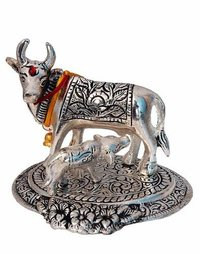 Cow and Calf Showpiece (Silver, Metal)
