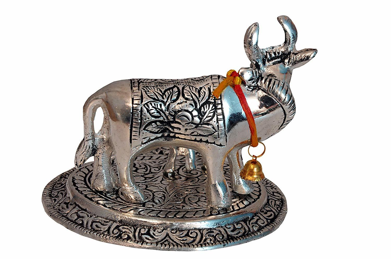 Cow and Calf Showpiece (Silver, Metal)