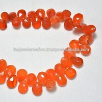 Natural Carnelian Faceted Pear Shape Briolette Beads
