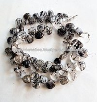 Natural Black Rutile Quartz Smooth Pear Heart Shape Briolette Rutiliated Beads