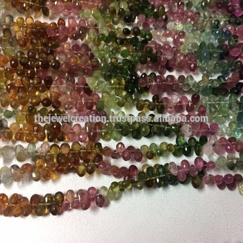 Natural Multi Tourmaline Gemstone Faceted Drops Beads Briolette Strand Bead