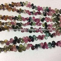 Natural Multi Tourmaline Faceted Pear Shape Briolette Gemstone Beads