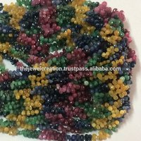 Natural AAA Multi Precious Faceted Drops Beads Briolette Ruby Emerald Sapphire