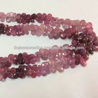 Natural Ruby Shaded Faceted Pear Shape Briolette Bead Wholesale Gemstone Beads