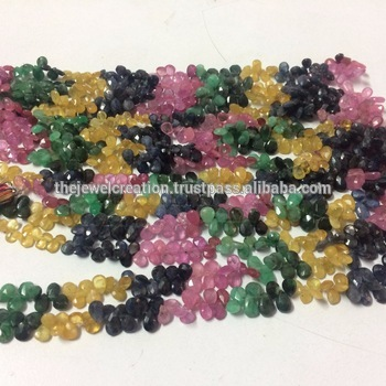 Natural Emerald Sapphire Ruby Faceted Pear Shape Briolette Wholesale Gemstone Bead