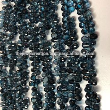 Natural London Blue Topaz Faceted Drops Teardrops Briolette Beads